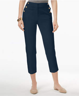 Charter Club Sailor-Button Capri Pants, Created for Macy's