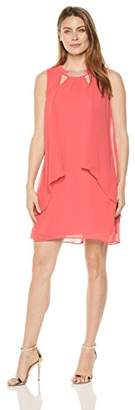 S.L. Fashions Women's Sleeveless Cutout Pearl Neck Dress