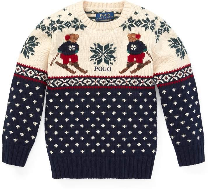 Ralph Lauren Ski Bear Cotton-Merino Sweater