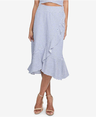 Rachel Roy Esta Ruffled Cotton Pinstripe Skirt, Created for Macy's