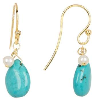 Candela 18K Yellow Gold Vermeil Turquoise Teardrop & 3-3.5mm Freshwater Pearl Drop Earrings