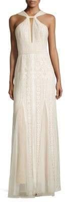 BCBGMAXAZRIA Lace Halter Gown
