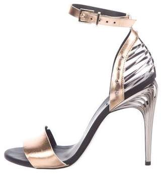 Fendi Metallic Ankle Strap Sandals