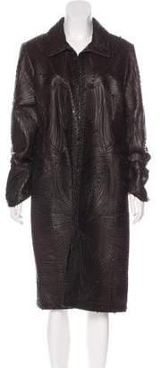 Oscar de la Renta Embellished Leather Coat w/ Tags