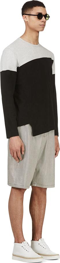 Comme des Garcons Shirts Grey & Black Colorblocked T-Shirt