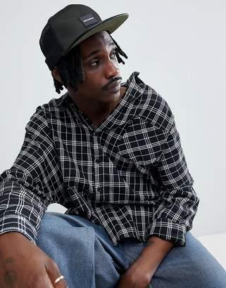 Asos Design DESIGN snapback in black & khaki mesh