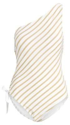 Ralph Lauren Slimming One-Shoulder Swimsuit Gold/White 4