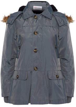 RED Valentino Faux Fur-Trimmed Shell Hooded Jacket