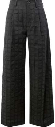 Issey Miyake square print trousers