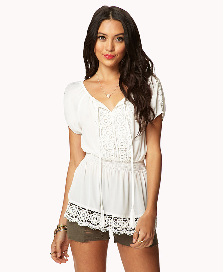 Forever 21 Crocheted Peasant Top