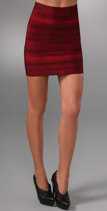 Herve Leger Exotic Prints Bandage Miniskirt
