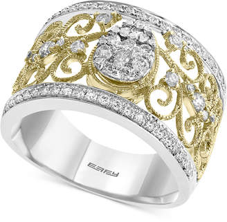 Effy Diamond Two-Tone Filigree Ring (5/8 ct. t.w.) in 14k Gold & White Gold