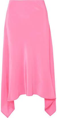 Sies Marjan - Asymmetric Silk Crepe De Chine Midi Skirt - Pink