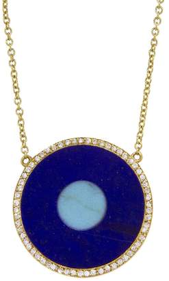 Jennifer Meyer Lapis Inlay and Turquoise Center Eye Necklace with Diamonds - Yellow Gold