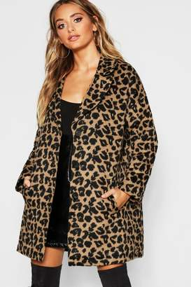 boohoo Boyfriend Leopard Wool Look Coat