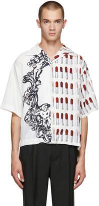 Prada White Short Sleeve Lipstick and Baroque Shirt