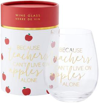 Indigo Stemless Wine Glass Apples Alone