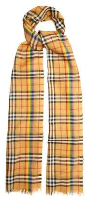 Burberry Rainbow Striped Vintage Check Scarf - Womens - Beige