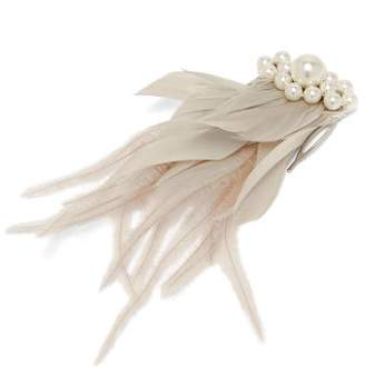 Simone Rocha Crystal Embellished Feather Comb Clip - Womens - White