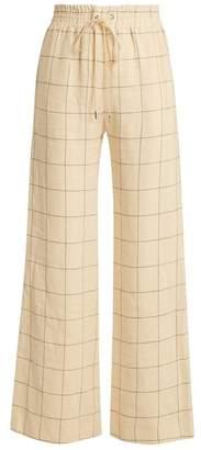 Zimmermann - Stranded Threadbare Wide Leg Linen Trousers - Womens - Cream Print