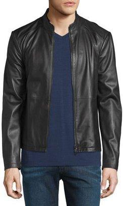 Armani Collezioni Cropped Leather Jacket, Black $1,595 thestylecure.com