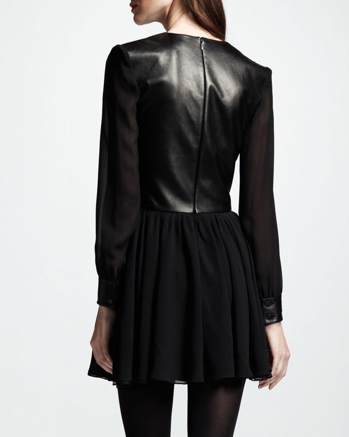 Saint Laurent Leather & Chiffon Combo Dress, Black
