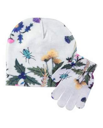 Molo Kaya Bugs Floral-Print Hat & Gloves Set