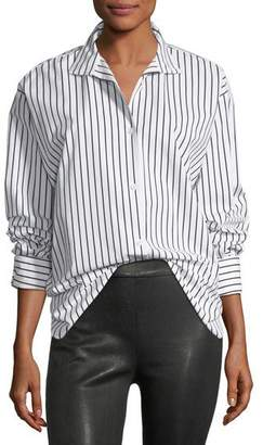 Frame Clean Collared Button-Front Striped Cotton Oversized Shirt
