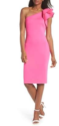 Eliza J One-Shoulder Ruffle Sheath Dress