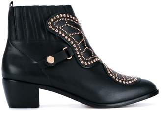Sophia Webster Black studded leather ankle boots
