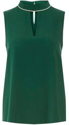 Dorothy Perkins Womens Green Embellished Keyhole Top