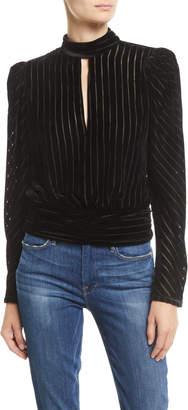 Frame Velvet High-Neck Striped Long-Sleeve Party Top