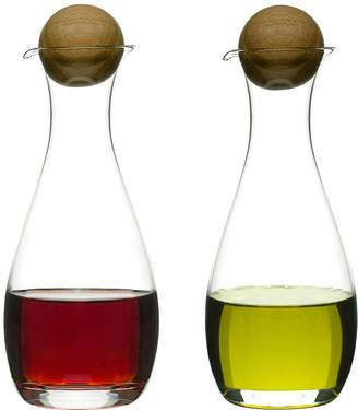 Sagaform Set of 2 Oil & Vinegar Bottles with Oak Stoppers