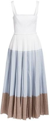 Lela Rose Squareneck Block Gingham Print Dress