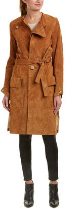 Helmut Lang Belted Suede Trench Coat