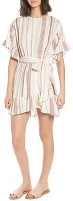 Marian Lost + Wander Stripe Ruffle Minidress
