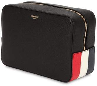 Thom Browne Stripes Pebbled Leather Toiletry Bag