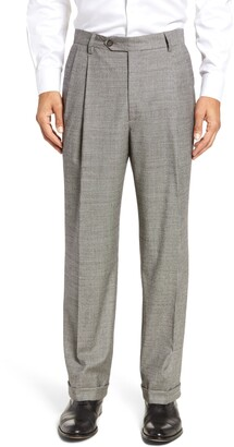 Berle Pleated Classic Fit Stretch Houndstooth Wool Dress Pants