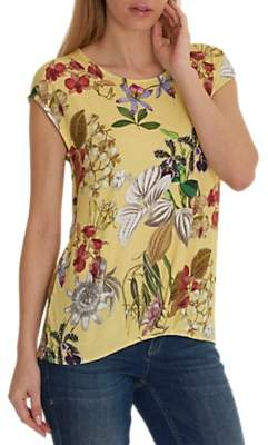 Co Betty & Floral Print T-Shirt, Yellow/Red