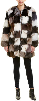 Jocelyn Fuzzy Colorblocked Coat