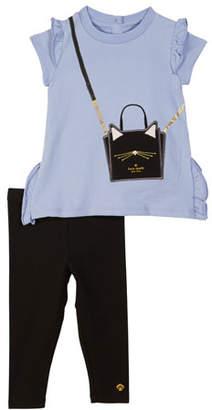 Kate Spade ruffle-trim trompe l'Oeil tee w/ solid leggings, size 12-24 months