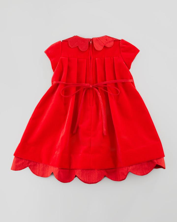 Florence Eiseman Shantung Scallop-Trim Velvet Dress, 3-9 Months