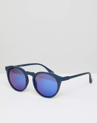 Design Round Sunglasses In Matte Navy With Blue Mirror Lens