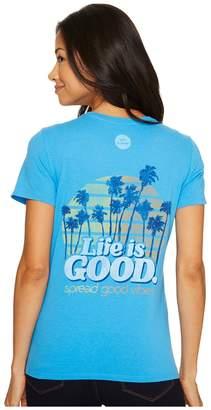 Life is Good Sunrise Palms Crusher Vee Women's T Shirt