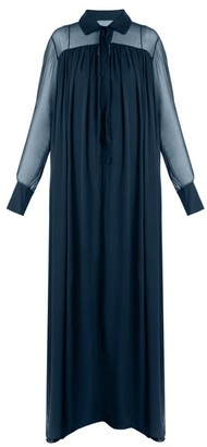 By. Bonnie Young - Long Sleeved Silk Chiffon Gown - Womens - Mid Blue
