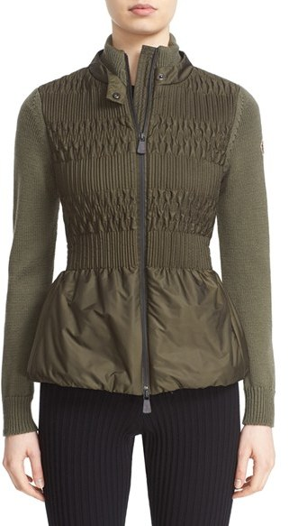 Moncler Women's Moncler Peplum Mixed Media Zip Front Cardigan