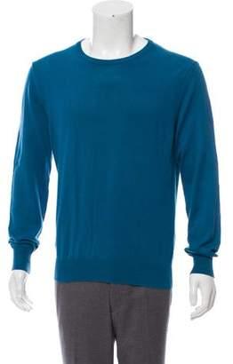 Maison Margiela Suede-Accented Crew Neck Sweater
