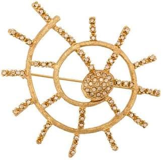 Oscar de la Renta shell pave brooch