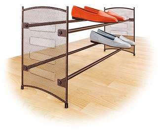 Lynk Expandable 2 Tier Stackable Shoe Rack - Steel Mesh Shoe Shelf - Bronze