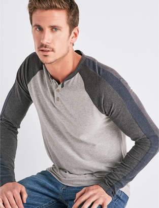 Lucky Brand SATURDAY STRETCH COLORBLOCK HENLEY